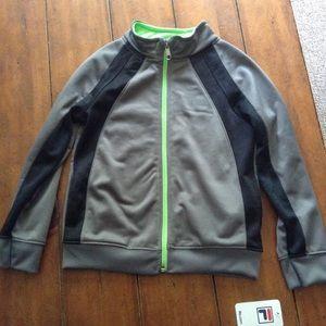 NWT FILA Boys Full Zipper Track Jacket Gray &  Blk